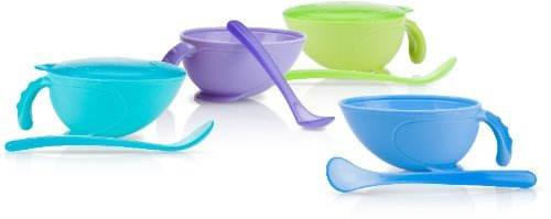 Non-Skid Feeding Bowl with Lid, Handle, and Spoon Case Pack 36