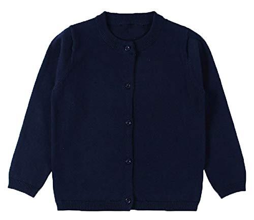 - GSVIBK Girls Cardigan Long Sleeve Crewneck Cardigans Solid Knit Button Sweater Cardigan Baby Girl 12-18M Navy 6112