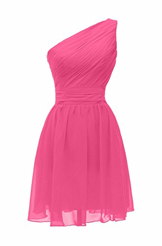 ThaliaDress Short One Shoulder Bridesmaid Evening Dresses Prom Gowns T195LF Hot Pink US10