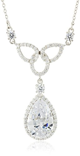 Charles Winston, S Silver, Cubic Zirconia Fancy Pear Necklace, 18