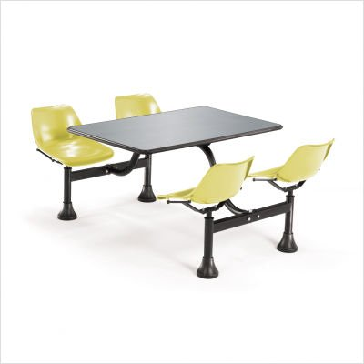 OFM Cluster Table with 4 Attached Swivel Chairs and Stainless Steel Top, Red by OFM (Image #5)