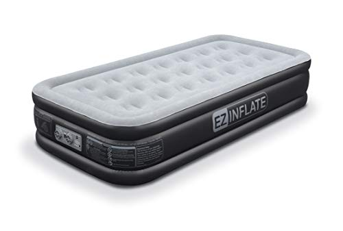 EZ INFLATE Affordable Twin Air Mattress with Built in Pump, Luxury Inflatable Mattress, Twin airbed with Flocked top, All Purpose Twin Blow up Bed, Home Camping Travel with a 2 Year Warranty
