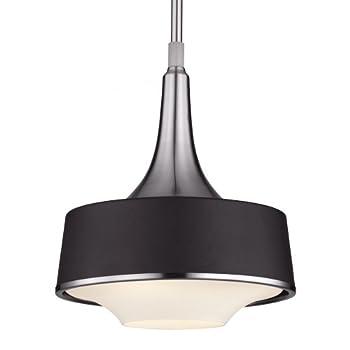 Feiss P1285BS/TXB 1-Bulb Pendant, Brushed Steel/Textured Black Finish