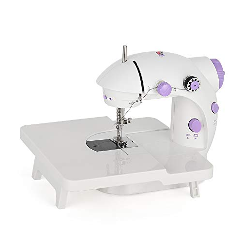 Mini Portable Sewing Machine with Extension Table Handheld Electric Sewing Machines Adjustable 2-Speed Sewing Machine for Kids Beginner and Home, Easy to Use, Purple
