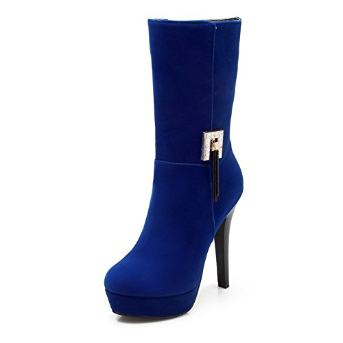 Allhqfashion Women's High-Heels Round Closed Toe Frosted Mid-Calf Boots Blue vY1EPxgz