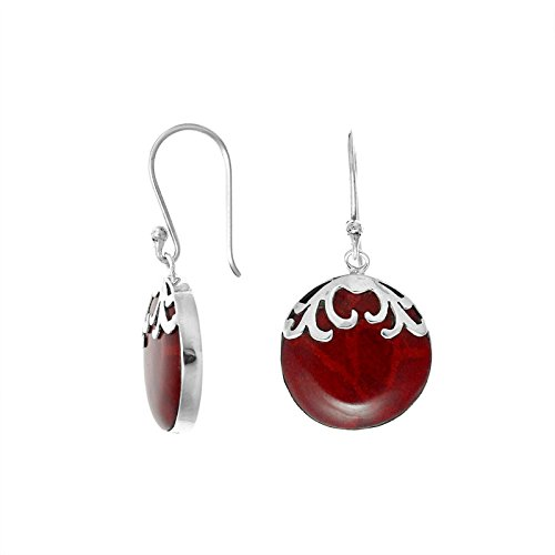 Bali Designs Sterling Silver Round Shape Earring With Coral AE-7033-CR ()