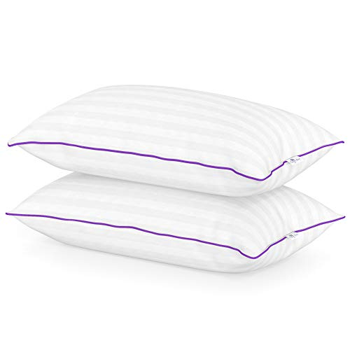 Luxury Set Firm (2 Luxury Hotel Pillows – Hand Crafted- Sleep on the Comfort of Down Alternative with Queen Anne's Exclusive Heavenly Down Hypoallergenic Pillow Set - Made in USA (Queen Size, Medium Fill))