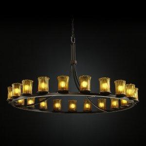 Justice Design GLA-8716-16-AMBR-DBRZ-GU24 Dakota - Twenty-One Light Ring Chandelier, Glass Options: AMBR: Amber Glass Shade, Choose Finish: Dark Bronze Finish, Choose Lamping Option: GU24 Fluorescent Non-Dimming Lamps