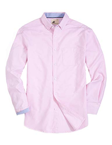 (MensCasualButtonDownDressShirtLongSleeve Cotton RegularFitOxfordShirts (OX-Pink, XL))