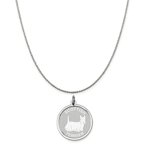 Mireval Sterling Silver Scottish Terrier Disc Charm on a Sterling Silver Rope Chain Necklace, 16