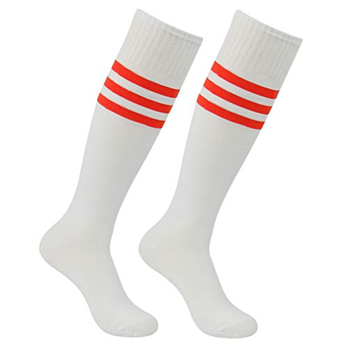 (Team Football Tube Socks, Atrest Youth Mens Womens Casual Dress Over-the-Calf Baseball Rugby Soccer with Stripe Compression Socks 2 Pairs White+Red Stripe )