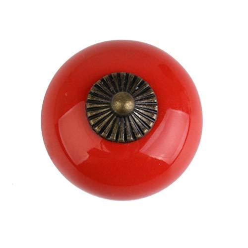 Vintage Caramic Round Drawer Cabinet Cupboard Door Pull Handle Knob Red
