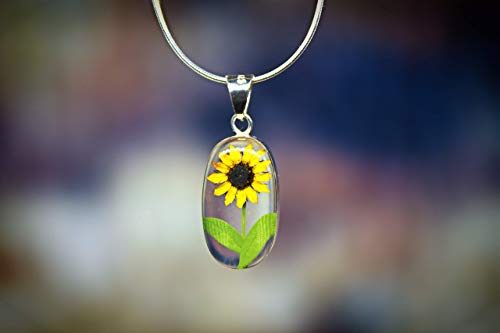 Sunflower Resin - Sterling OVAL Necklace with a Real Natural Pressed Miniature SUNFLOWER (Symbol of Happiness and Light) in a TRANSPARENT Background with a 17.71 inches Sterling Silver Chain - Perfect GIFT -