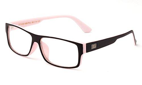 Newbee Fashion - Kayden Retro Unisex Plastic Fashion Clear Lens Glasses Matte Black/Pink 2
