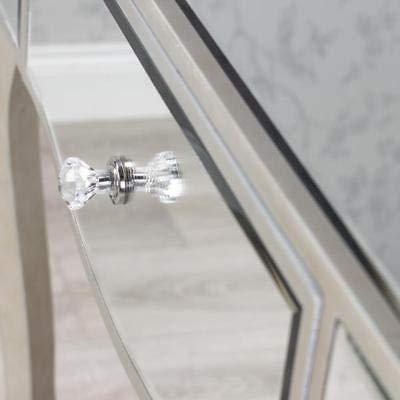 Rrored GL Table Cristal ER Miroir Console Coiffeuse Argent Mirro Argent Verre Miroir Console L Boutons Boutons Ystal Boutons Generic