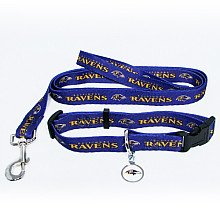 Baltimore Ravens Dog Collar & Leash Set