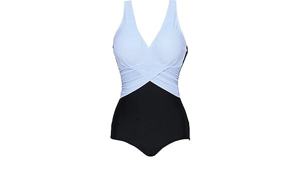 EUDOLAH Bikini de Talla Grande para Mujer Traje de ba/ño de 1 Pieza Color de Contraste en Vogue