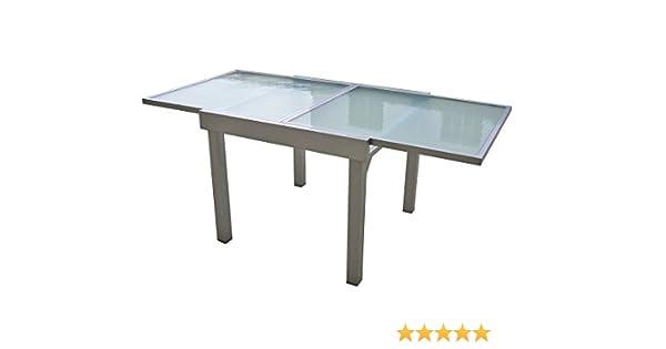 Garden Pleasure Mesa extensible 90/180x90 jardín terraza aluminio cristal mesa de comedor: Amazon.es: Jardín