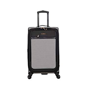 Image of Isaac Mizrahi Greenwich 24' 8-Wheel Spinner Luggage, Black White Luggage