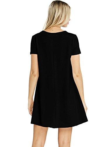 Tam Articles Femmes Court Manchon Lâche Robe T-shirt Oscillant (made In Usa) Noir