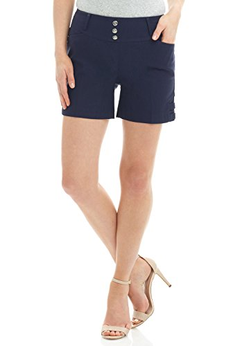 (Rekucci Women's Ease Into Comfort Stretchable Pull-On 5 inch Slimming Tab Short (10,Navy))