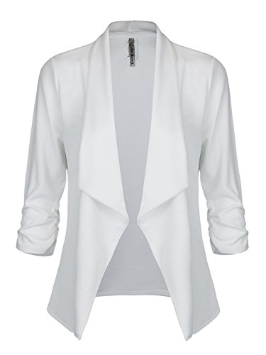 Instar Mode Women's Classic 3/4 Sleeve Open Front Blazer Jacket [S-3X] -Made in USA Off-White 2XL by Instar Mode