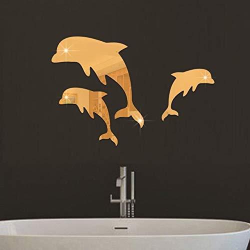 Vanessa Gay Cute Dolphin Combination Mirror Effect Wall Sticker