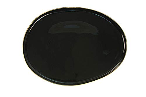 - Canvas Home Abbesses Porcelain Serving Platter, Hand-Glazed Porcelain Serving Tray with Hand Painted Rim (Small, Glossy Black with Gold Rim)