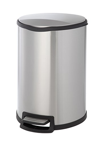 Home Zone Step Trash Can - 12 Gallon / 45 Liter Semi-Round Stainless Steel Trash Bin (VA41305A) -