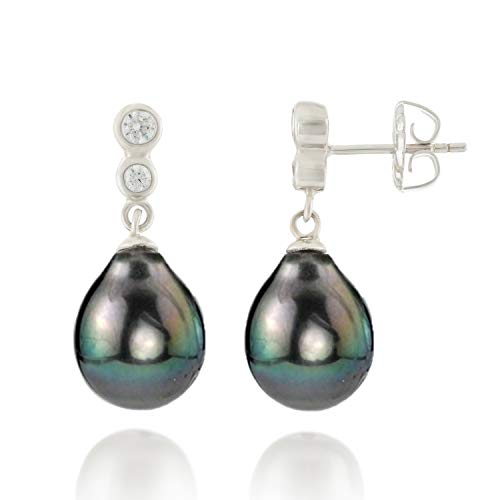 Handpicked AA Quality 9-10mm Black Tahitian South Sea Cultured Pearls Dangle Drop Earrings in 925 Sterling Silver for Women