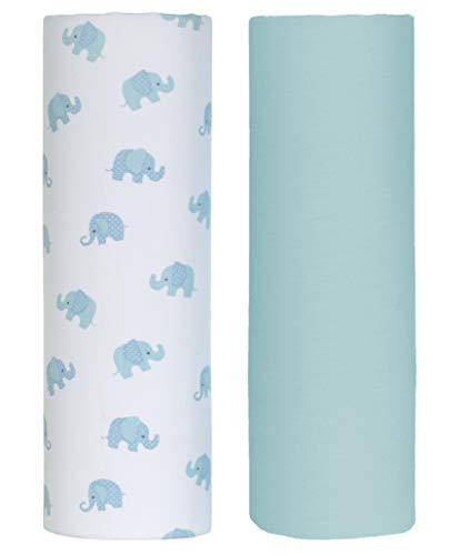 Cuddles & Cribs 2 Pack GOTS Certified Organic Cotton Fitted Crib Sheet - Blue, - Blue Sheet Organic Crib