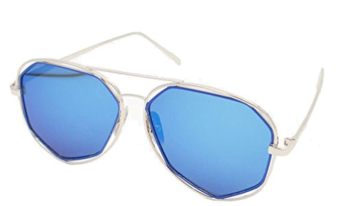 LEXSION Fashion Mirrored Flat Lenses Metal Frame Sunglasses with Felt Pouch Silver Frame Blue - Cute Buy Where Glasses To