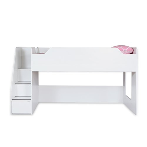 South Shore Mobby 39-Inch Loft Bed with Stairs, Twin, Pure White - Low Loft Bunk Bed
