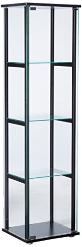 4-Shelf Glass Curio Cabinet Black and ()