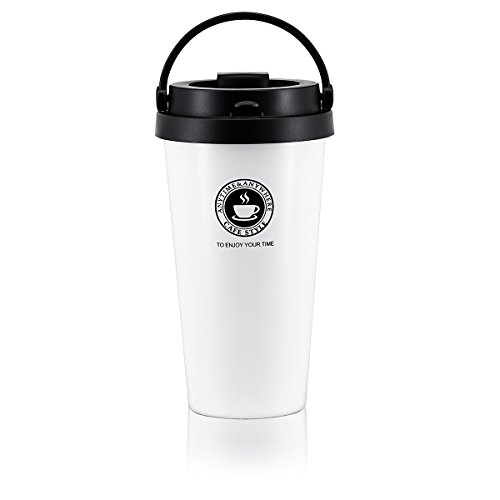 Travel Coffee Mugs Double Wall Vacuum Insulated Stainless Steel Travel Tumbler 17Oz Water Coffee Cups for Home, Office, School, Camping, Travelling (White)