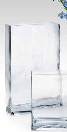 Glass Rectangle Vase, 14in H, Each
