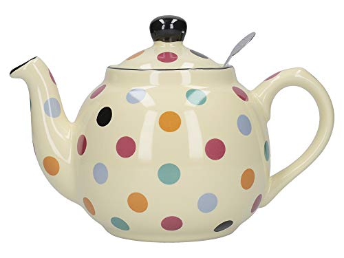 London Pottery Farmhouse Polka Dot Teapot with Infuser, Ceramic, Ivory/Multi Spot, 2 Cup (500 ml)