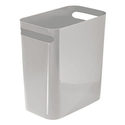 InterDesign Una Slim Wastebasket Trash Can – Dark Brown, 8 Quart Capacity, 12-Inch, Gray by InterDesign