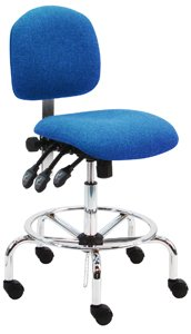 """Deluxe Fabric Ergonomic ESD Anti Static Chair/Stool with Chrome Base, 450 lbs Capacity, 19"""" Width x 17"""" Depth, 23""""-31"""" Seat Height, Pacific Blue, 3 Lever Control"""
