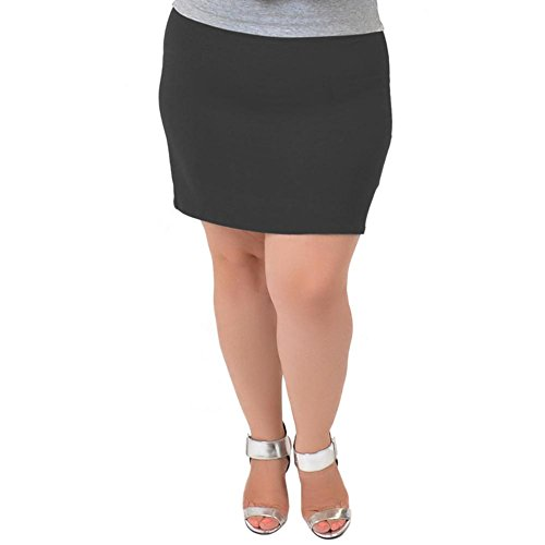 Stretch is Comfort Women's Plus Size Cotton Mini Skirt Charcoal Gray 2X