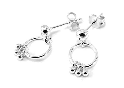 925 Sterling Silver Earring Cartilage For Women Ear Stud 4mm Ball with Dangling 5/16