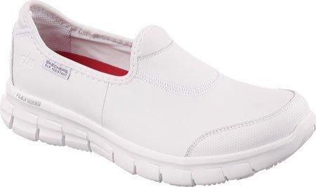 Skechers for Work Women's Sure Track Slip Resistant Shoe, White, 5.5
