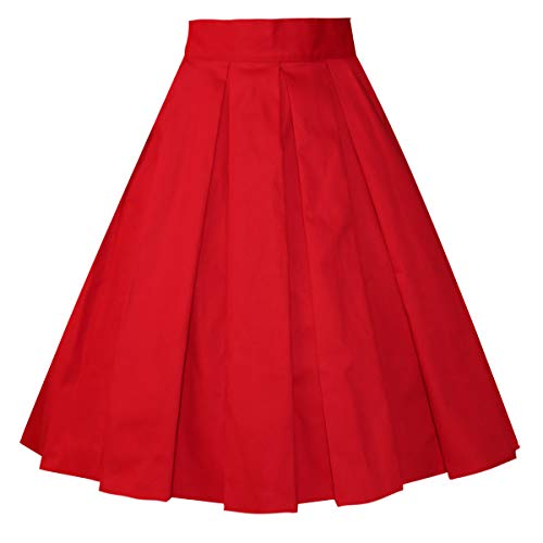 Girstunm Women's Pleated Vintage Skirt Floral Print A-line Midi Skirts with Pockets Red XL