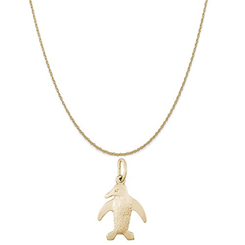 Rembrandt Charms 14K Yellow Gold Penguin Charm on a 14K Yellow Gold Rope Chain Necklace, 20