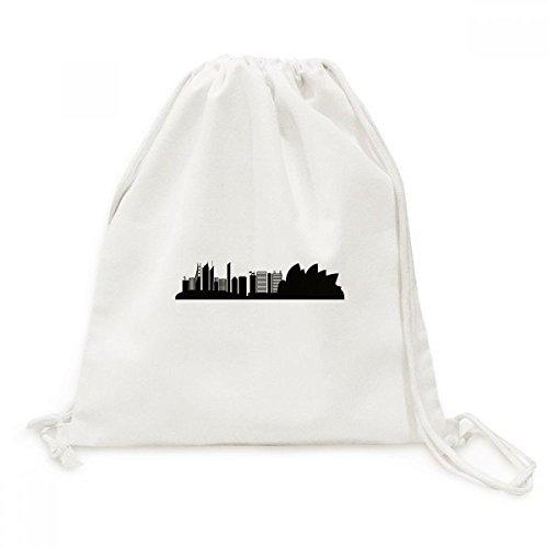 Australia Landmark Sydney Opera House Silhouette Canvas Drawstring Backpack Shopping Travel Lightweight Basic Bag - Shopping Sydney Australia