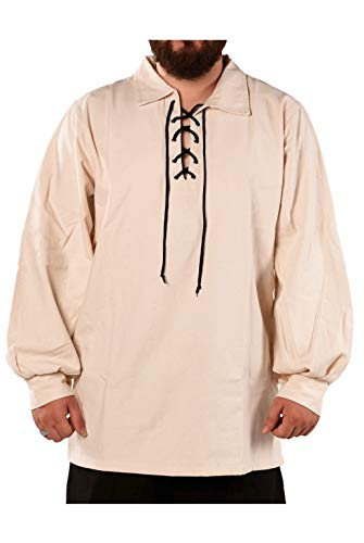 (byCalvina - Calvina Costumes Alfred Medieval Viking LARP Jacobite Ghilli Pirate Men's Unisex Shirt - Made in Turkey, Natural, M)
