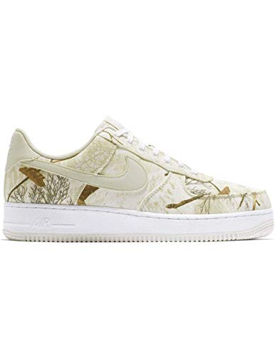Nike Men's Air Force 1 LV8 White/Light Bone/Real Tree Camo Leather Casual Shoes 10.5 M US