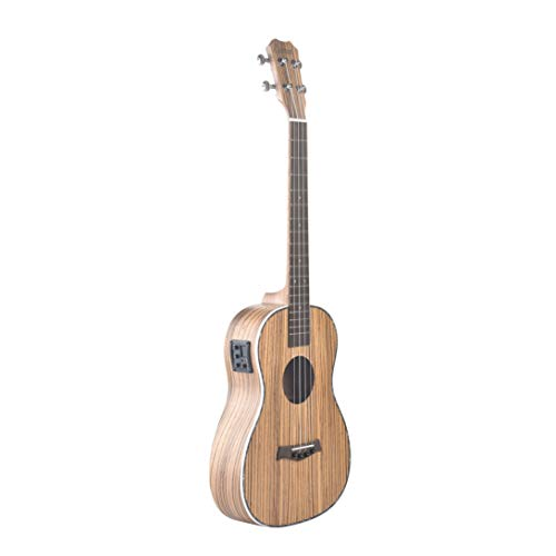Caramel CB104 Zebra Wood Matt Finish Baritone Acoustic Electric Ukulele With Truss Rod with D-G-B-E Strings (Finish Caramel Medium)