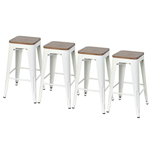DeKea 26 Inch Backless Bar Stools Counter Height Metal Stools with Wooden Seat [Set of 4] for Ki ...