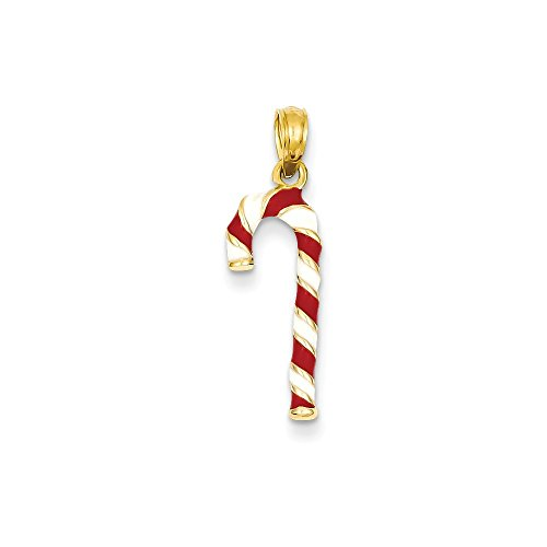 14k Yellow Gold Enameled Candy Cane Charm (9 x 25 (14k Candy Cane Charm)